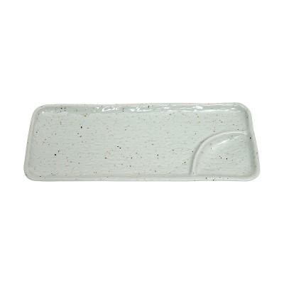 Teller mit Trenner - Keramik natur - 30,2x12cm