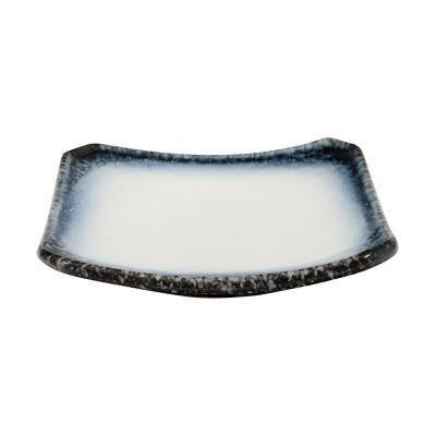 Teller quadratisch 'Tajimi' schwarz-weiß