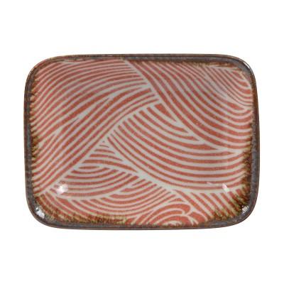 Teller rechteckig 'Burashi aka - Nami' Rot - 9,5x7cm