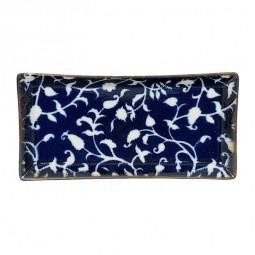 Teller rechteckig 'Burashi ao - Karahana blau' 23x11,5cm
