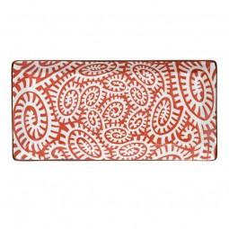 Teller rechteckig - Karakusa Rot 23x11,5cm