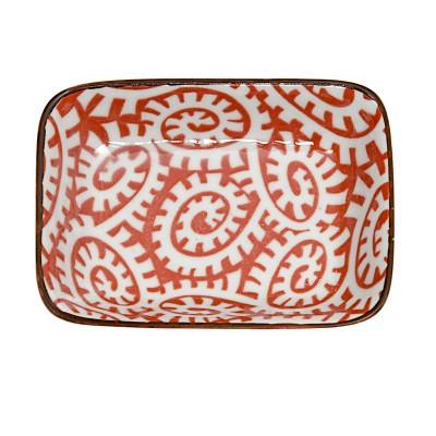 Teller rechteckig - Karakusa Rot 9,5x7cm