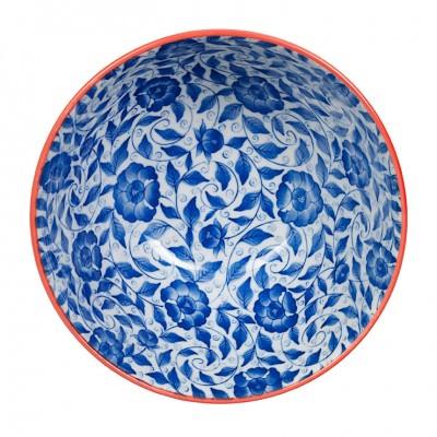 Teller rund 'Karahana - dunkelblau/rot'