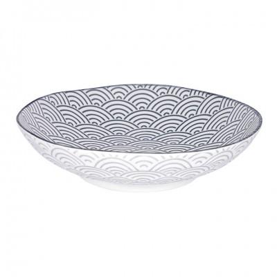 Tiefer Teller - Japan grau - Seigaiha - 21x5,2cm