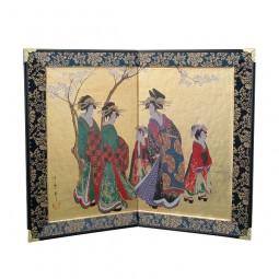 Tisch-Paravent - Schönheiten unter den Kirschblüten (Utamaro)