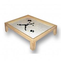 Tisch mit ZEN-Garten aus Buche - niedrig