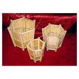 3er Set Bambus Übertopfe, sechseckig, konisch