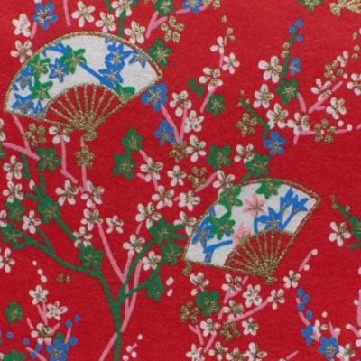 Washibogen Fächer und Blütenzweige, rot