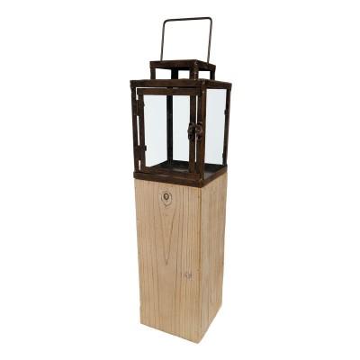 Windlicht/Laterne auf Holzsockel