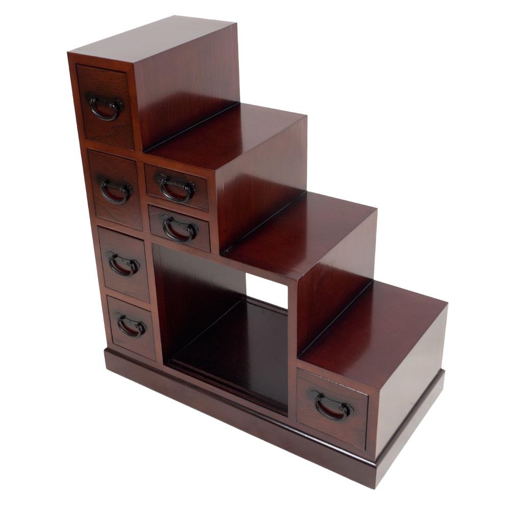 Treppen-Tansu klein aus dunklem Holz - japanischer Schrank
