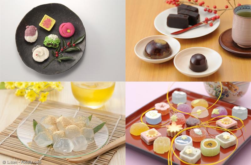 Verschiedene Wagashi Sorten in der Übersicht - vier Einzelbilder mit japanischen Süßigkeiten