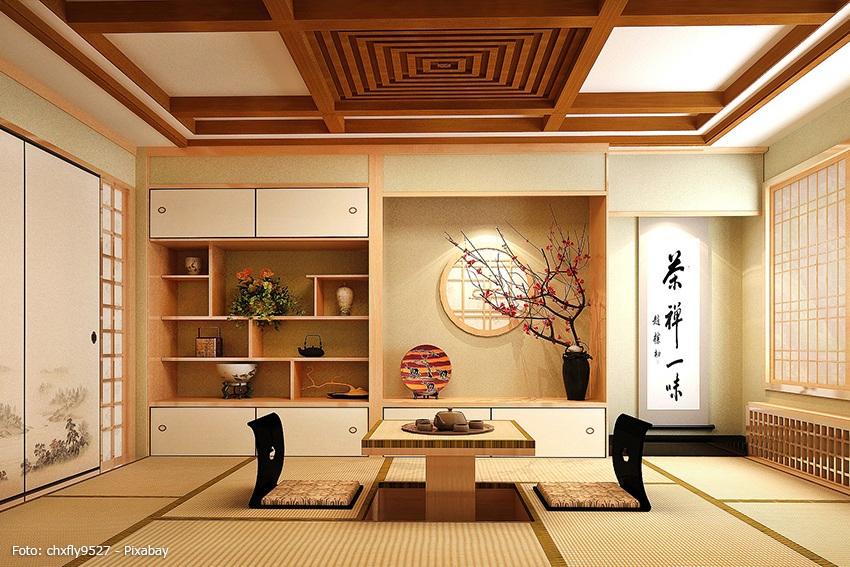 Washitsu Japanzimmer mit Zaisu und Zabuton