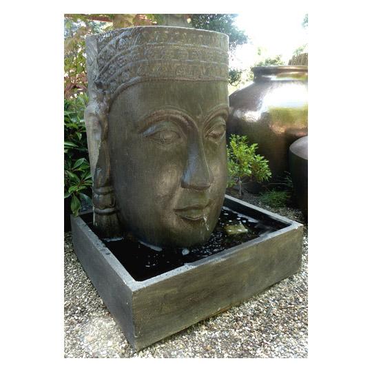 wasserspiel khmer kopf • figuren & skulpturen • garten • japanwelt, Gartenarbeit ideen