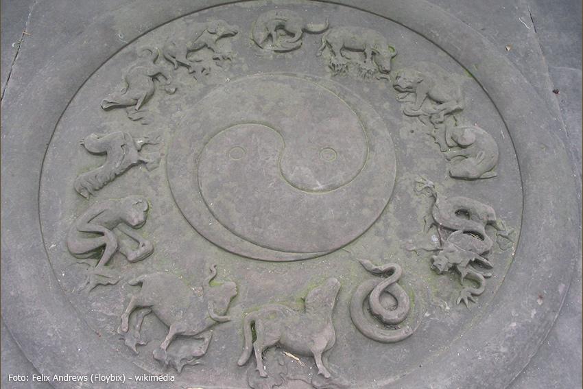 Tierkreiszeichen rund um das Prinzip von Yin und Yang